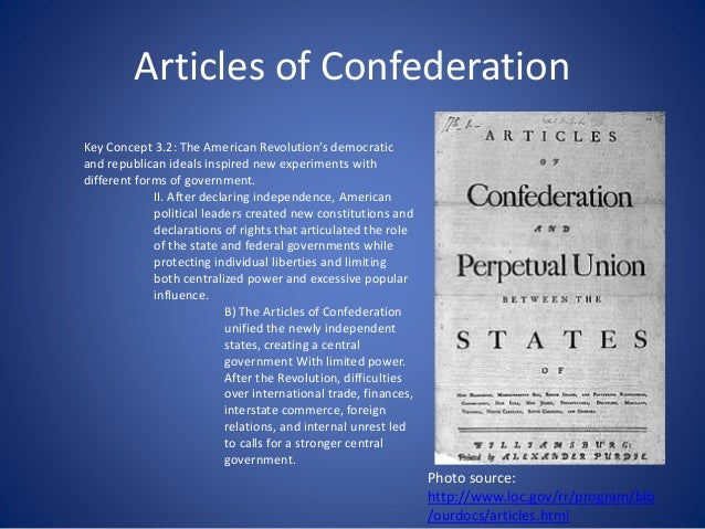 articles regarding confederation apush