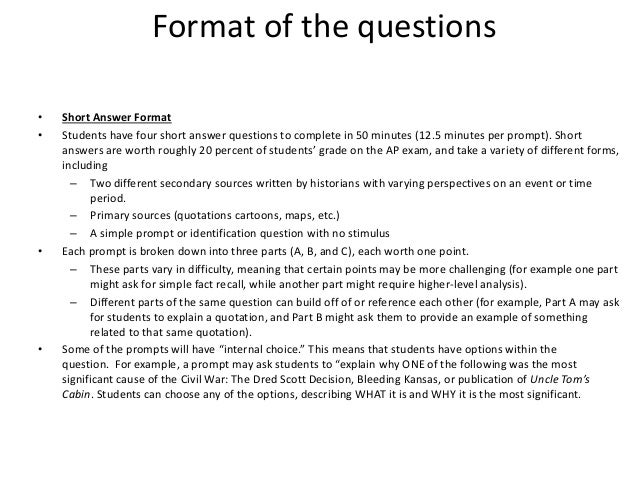 Apush short answer review