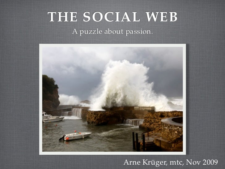 THE SOCIAL WEB   A puzzle about passion.                     Arne Krüger, mtc, Nov 2009