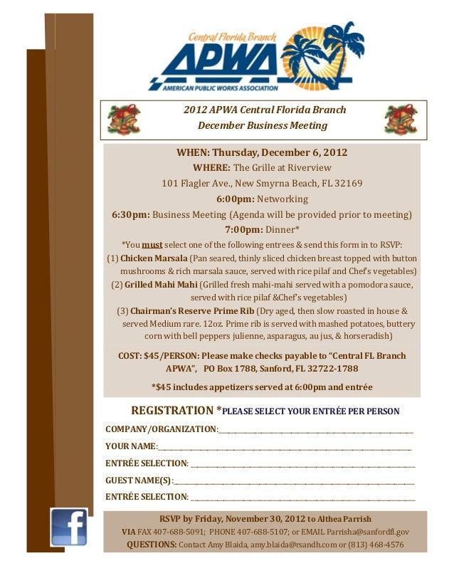2012 APWA Central Florida Branch                          December Business Meeting              WHEN: Thursday, December ...