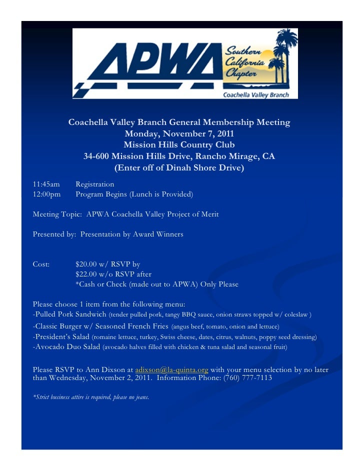 Coachella Valley Branch General Membership Meeting                             Monday, November 7, 2011                   ...