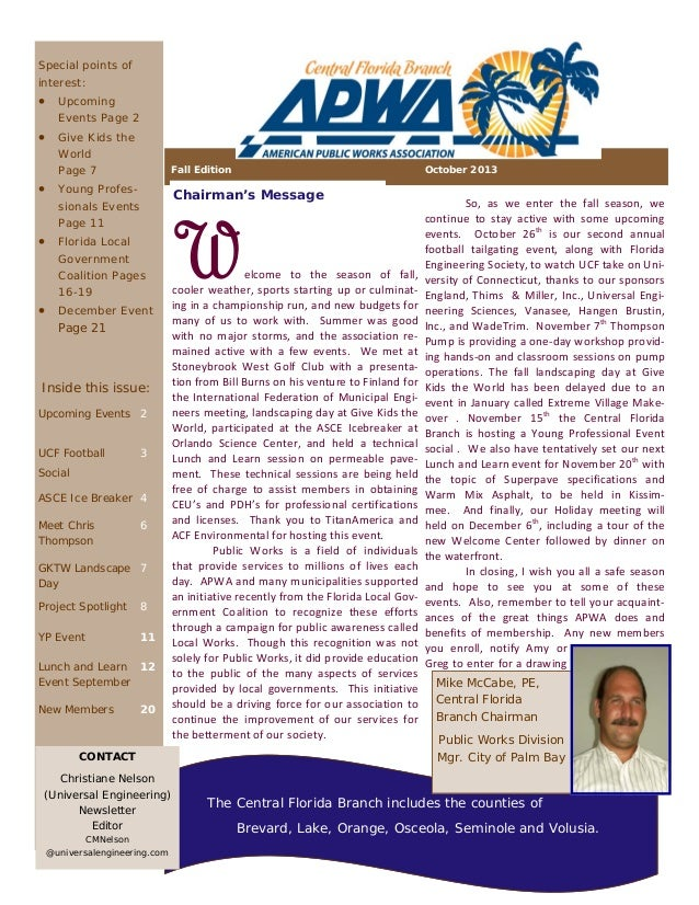 Special points of interest:   Upcoming Events Page 2   Give Kids the World Page 7  Fall Edition   Young Profes-  Cha...