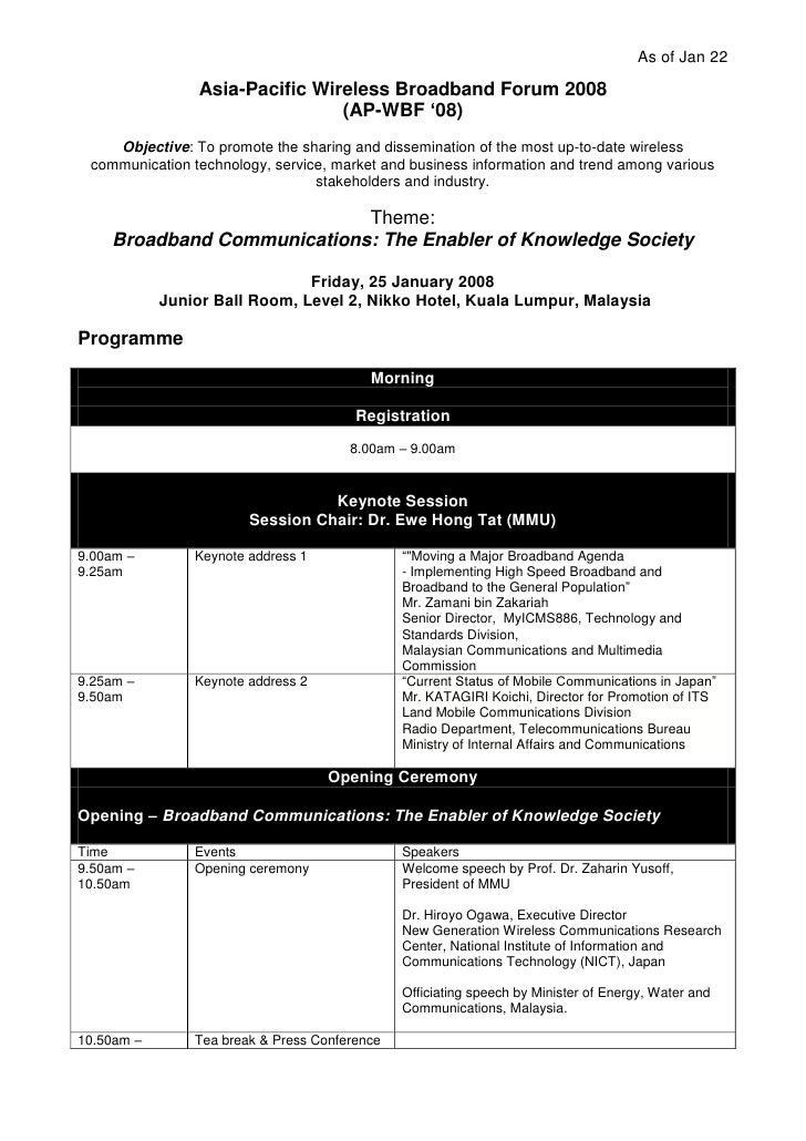 As of Jan 22                   Asia-Pacific Wireless Broadband Forum 2008                                  (AP-WBF '08)   ...