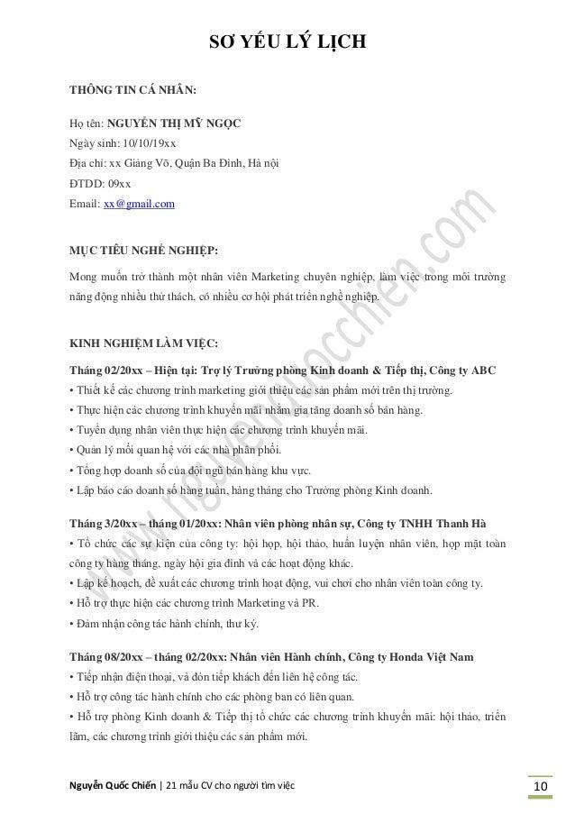 Nguyễn Quốc Chiến   21 mẫu CV cho người tìm việc 10 SƠ YẾU LÝ LỊCH 63 THÔNG TIN CÁ NHÂN: Họ tên: NGUYỄN THỊ MỸ NGỌC Ngày s...