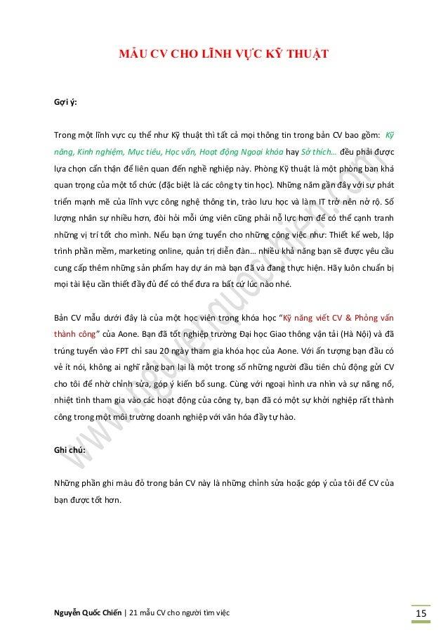 Nguyễn Quốc Chiến   21 mẫu CV cho người tìm việc 15 MẪU CV CHO LĨNH VỰC KỸ THUẬT Gợi ý: Trong một lĩnh vực cụ thể như Kỹ t...