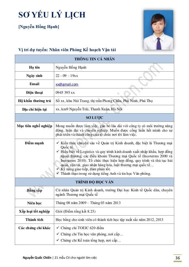 Nguyễn Quốc Chiến   21 mẫu CV cho người tìm việc 36 SƠ YẾU LÝ LỊCH [Ngu ễn Hồng Hạnh] Vị trí dự tu ển: Nh n vi n Ph ng Kế ...
