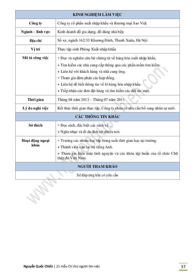 Nguyễn Quốc Chiến   21 mẫu CV cho người tìm việc 37 KINH NGHIỆM LÀM VIỆC Công ty Công ty cổ phần xuất nhập khẩu và thương ...