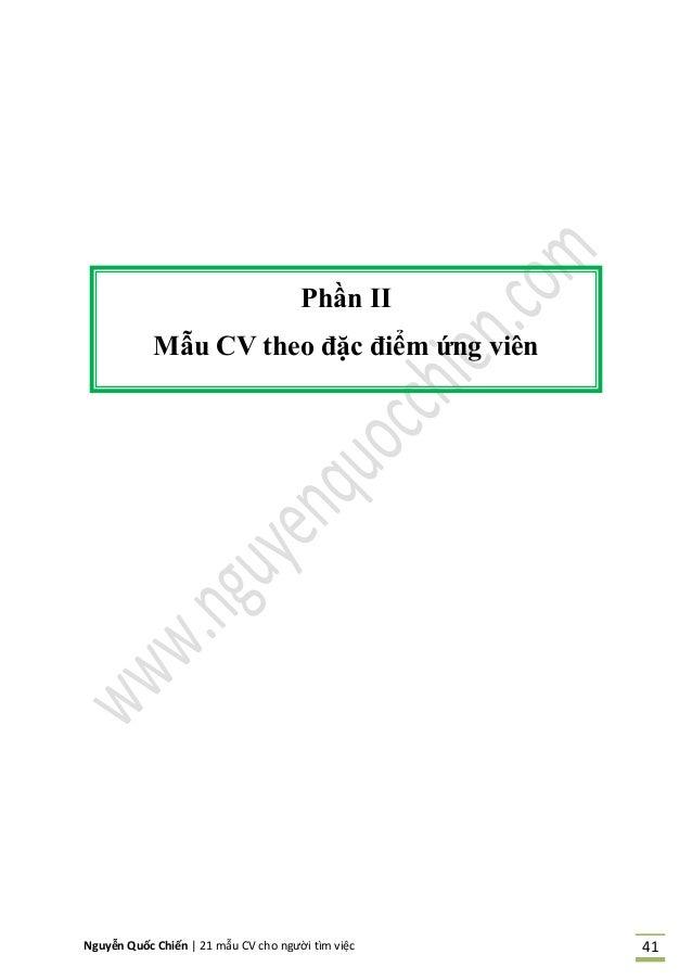 Nguyễn Quốc Chiến   21 mẫu CV cho người tìm việc 41 Phần II Mẫu CV theo ặc iểm ứng vi n