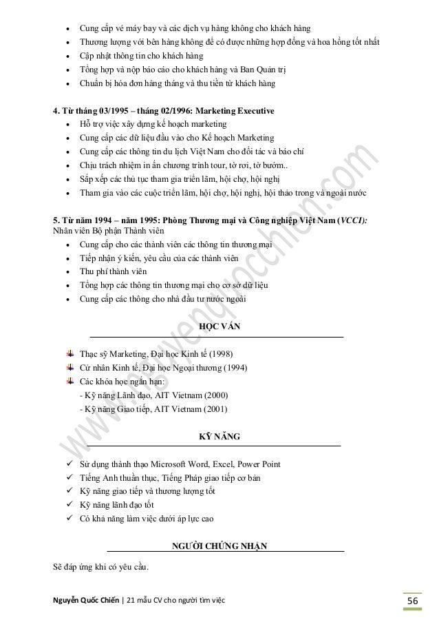 Nguyễn Quốc Chiến   21 mẫu CV cho người tìm việc 56  Cung cấp v máy ay và các dịch vụ hàng không cho khách hàng  Thương ...