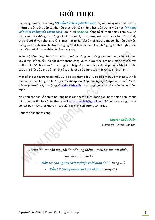 """Nguyễn Quốc Chiến   21 mẫu CV cho người tìm việc 6 GIỚI THIỆU Bạn đang xem bộ cẩm nang """"21 mẫu CV cho người tìm việc"""". Bộ ..."""