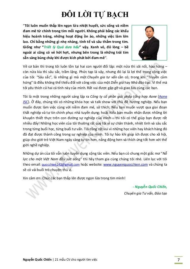 """Nguyễn Quốc Chiến   21 mẫu CV cho người tìm việc 7 ĐÔI LỜI TỰ BẠCH """"Tôi luôn muốn thắp lên ngọn lửa nhiệt huyết, sức sống ..."""