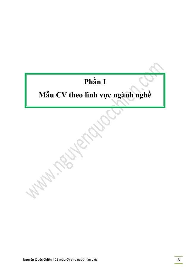 Nguyễn Quốc Chiến   21 mẫu CV cho người tìm việc 8 Phần I Mẫu CV theo lĩnh vực ngành nghề
