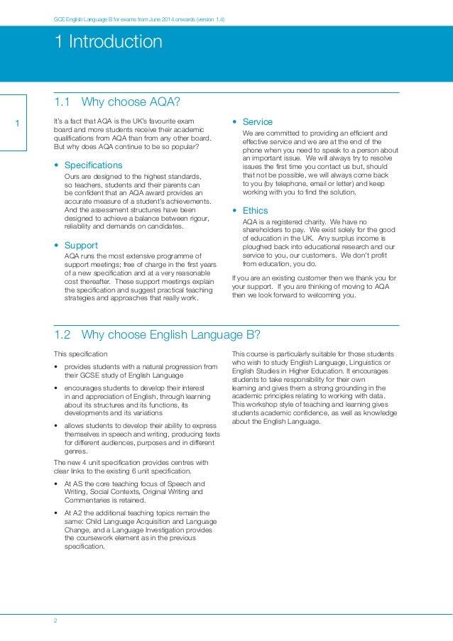 english coursework aqa mark scheme