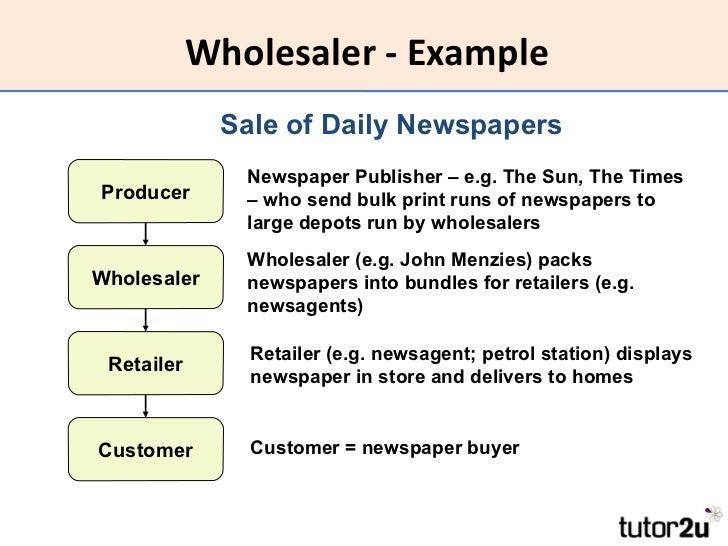 ... Retailer; 12. Wholesaler   Example ...