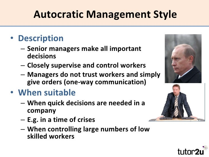 an autocratic leadership style essay While autocratic leadership is rarely very popular with employees, it's the   point if you're writing an essay, taking an exam, or even refining the leadership  style.