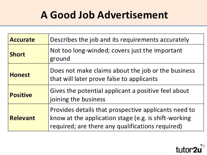 19. A Good Job AdvertisementAccurate ...  Good Job Qualifications