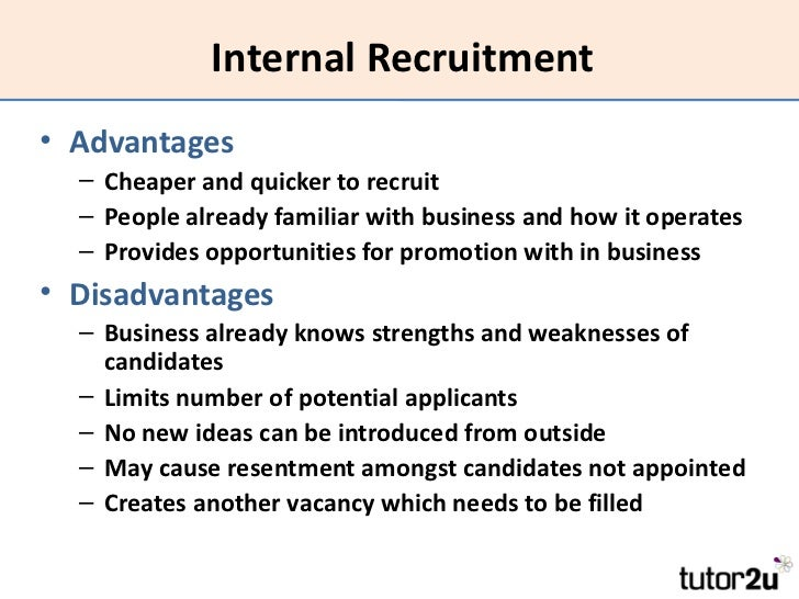 internal promotion vs external recruitment of Internal vs external candidates  internal promotion and hired by a  external hiring external recruitment is a systematic search through employees that are.