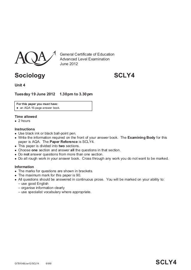sociology 12 mark paper [12] section b total [30] paper total [60] specimen 8  unit b671: sociology basics specimen mark scheme the maximum mark for this paper is 60 specimen 2.