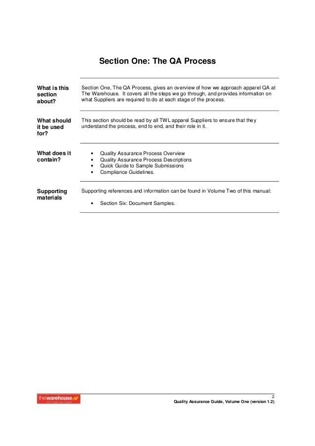 apparel quality assurance manual rh slideshare net Quality Assurance Department Structure Quality Assurance Certificate