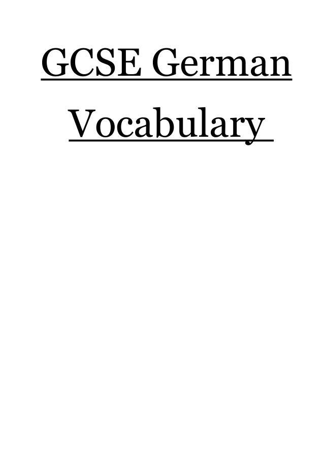 GCSE German Vocabulary