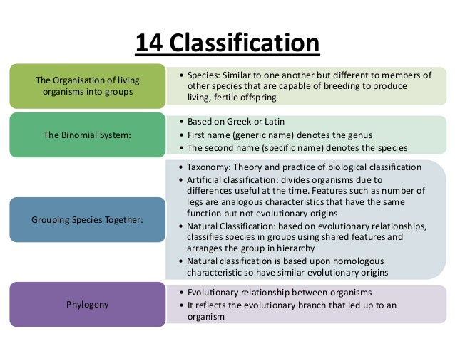 theories of biological classification
