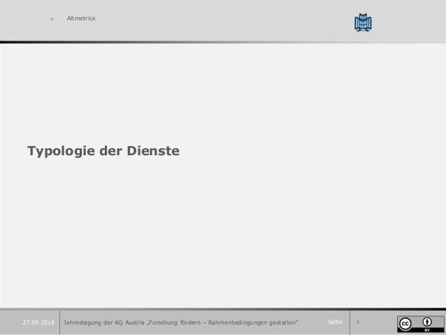 """Seite 6 > Altmetrics Typologie der Dienste Jahrestagung der AQ Austria """"Forschung fördern – Rahmenbedingungen gestalten""""27..."""
