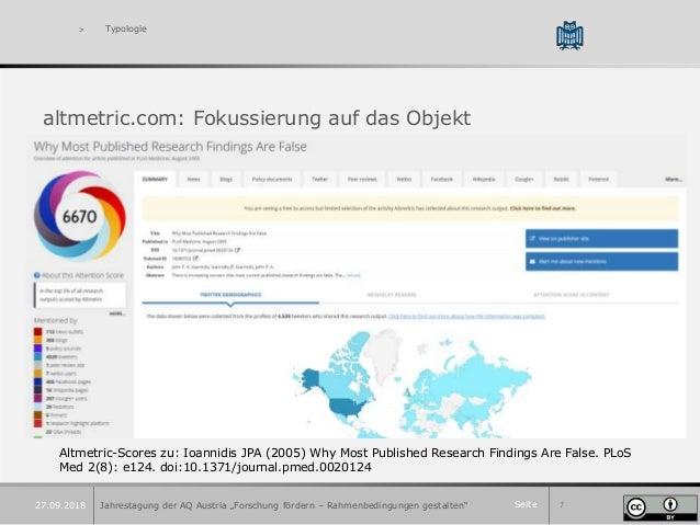 """Seite 7 > Typologie altmetric.com: Fokussierung auf das Objekt Jahrestagung der AQ Austria """"Forschung fördern – Rahmenbedi..."""