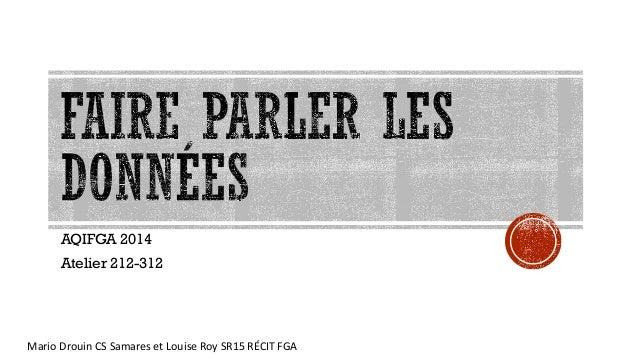 Mario Drouin CS Samares et Louise Roy SR15 RÉCIT FGA AQIFGA 2014 Atelier 212-312