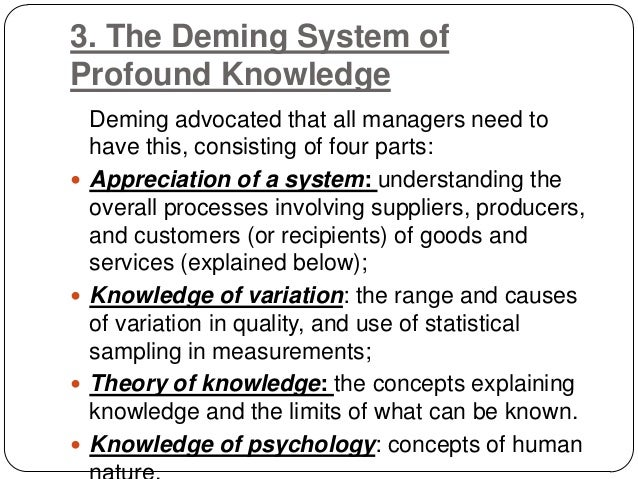 deming concept How can key deming principles be applied to healthcare process improvement dr john haughom, md explains the 5 best concepts that can be applied.