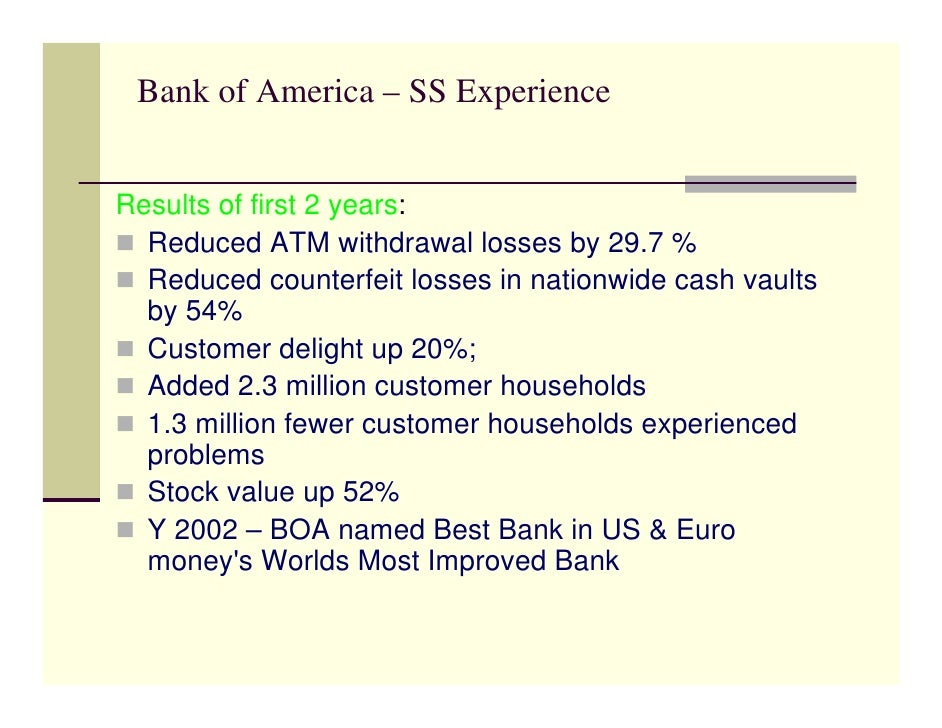 bank of america six sigma case study Six sigma will enable bank of america to make the breakthrough  assessment  methods such as assignments, case studies and internal examination.