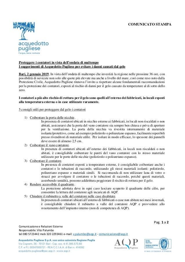 Pag. 1 a 2 Comunicazione e Relazioni Esterne Responsabile: Vito Palumbo tel 080 5723442 mob 320 2293461 e-mail: v.palumbo@...