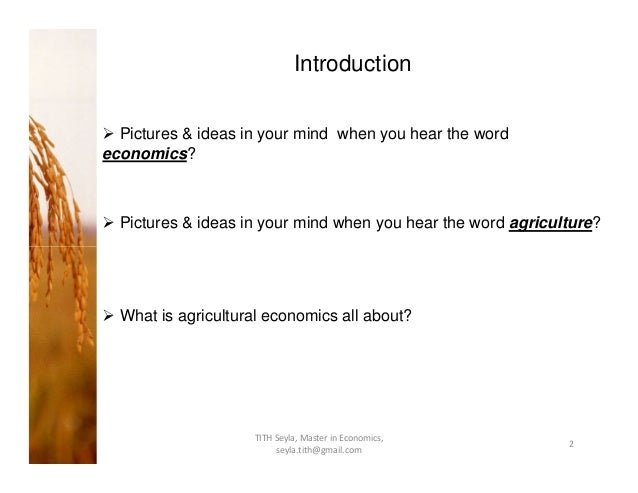 research papers on agricultural economics Agricultural economics research institute (aeri):  job market papers repec working paper series dedicated to the job market fantasy league.