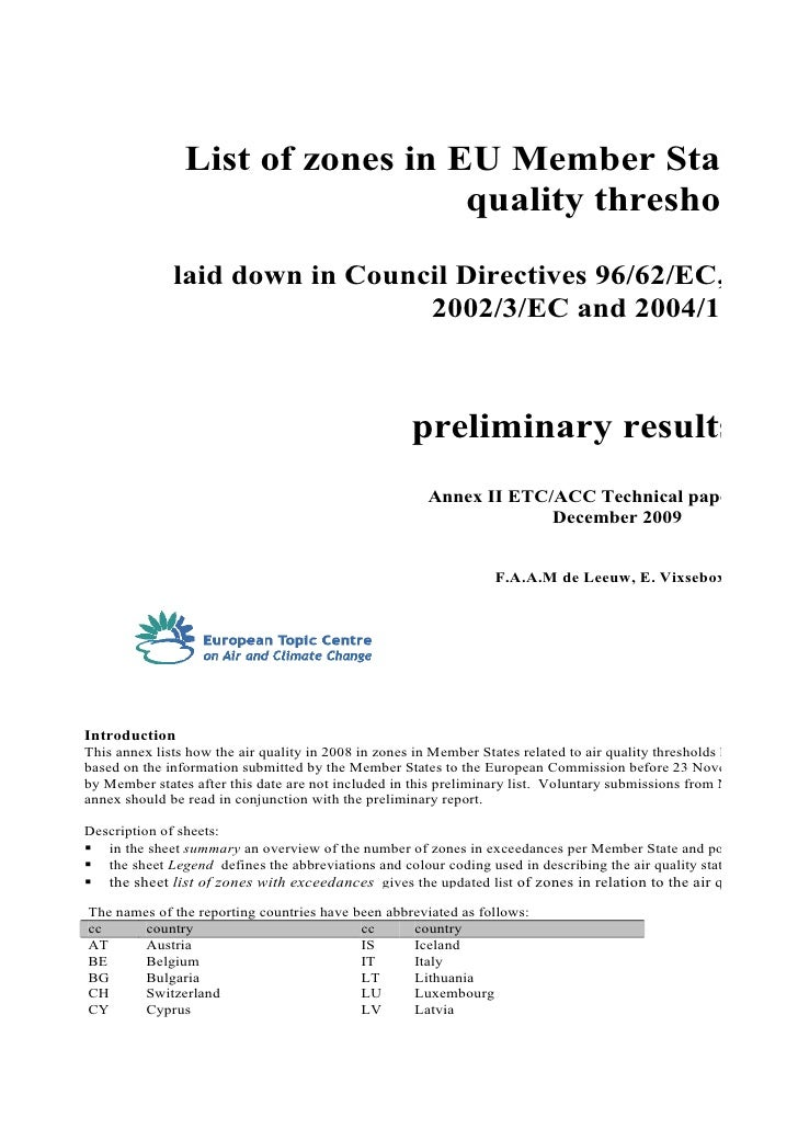 List of zones in EU Member States in                                  quality thresholds              laid down in Council...