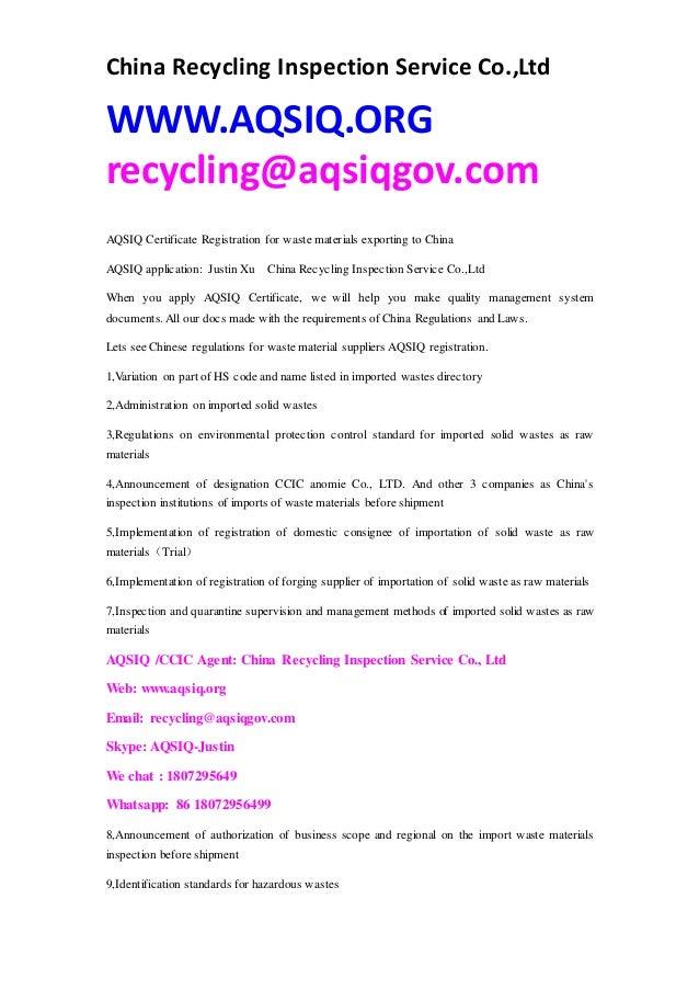 Aqsiq Certificate Regulations