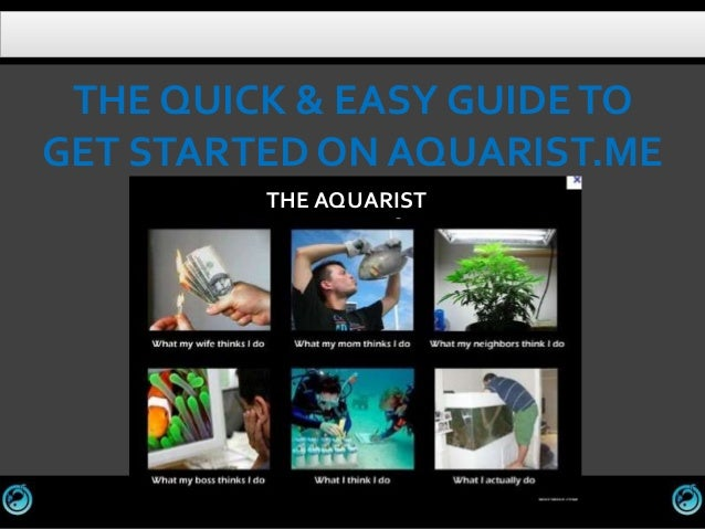 THE QUICK & EASY GUIDE TOGET STARTED ON AQUARIST.ME         THE AQUARIST