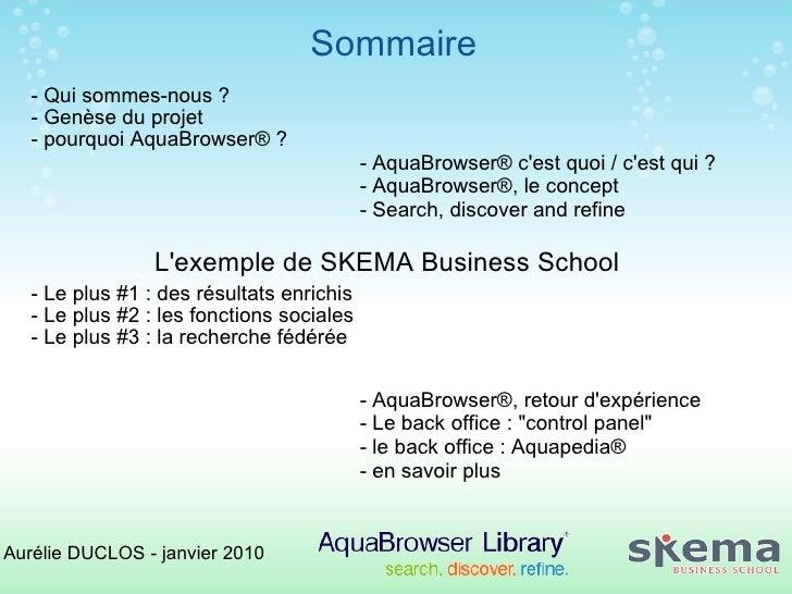 AquaBrowser - fonctionnalités, mise en place, apports aux usagers Slide 2