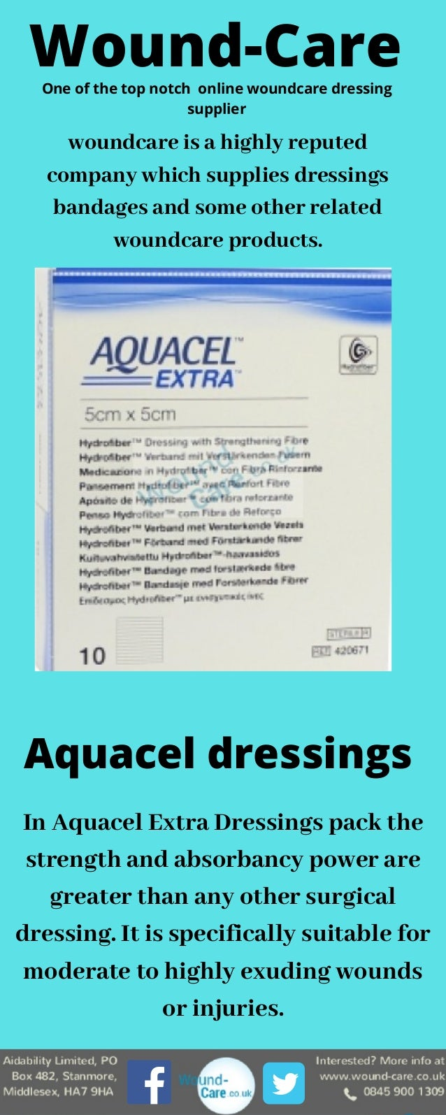 In Aquacel Extra Dressings pack the strength and absorbancy power are greater than any other surgical dressing. It is spec...