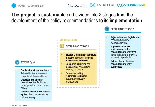 8 The project is sustainable and divided into 2 stages from the development of the policy recommendations to its implement...
