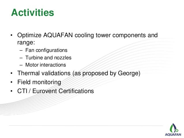 AQUAFAN Technology Center - R&D on Hydro-Powered Cooling