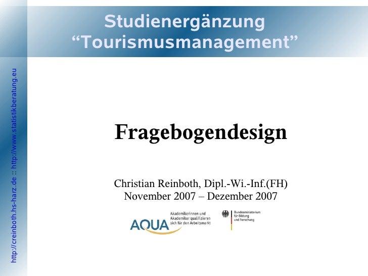 """Studienergänzung                                                                  """"Tourismusmanagement"""" http://creinboth.h..."""