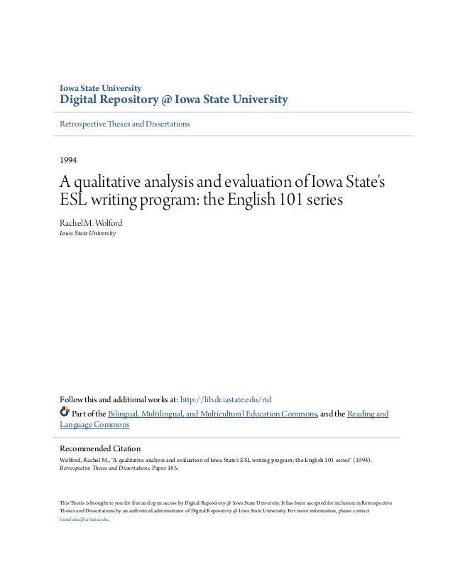 Iowa State University Digital Repository @ Iowa State University Retrospective Theses and Dissertations 1994 A qualitative...