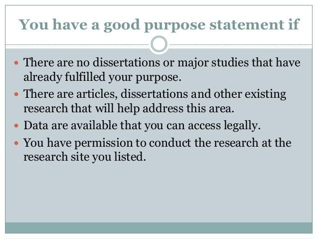 Good purpose statement