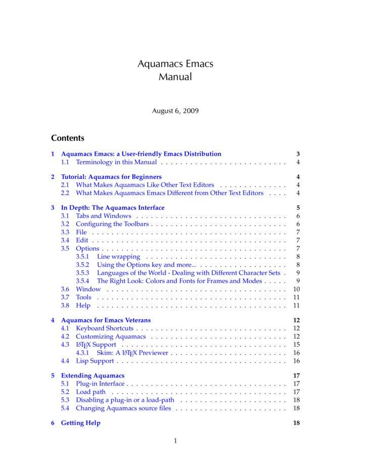 Aquamacs Emacs                                      Manual                                          August 6, 2009   Conte...