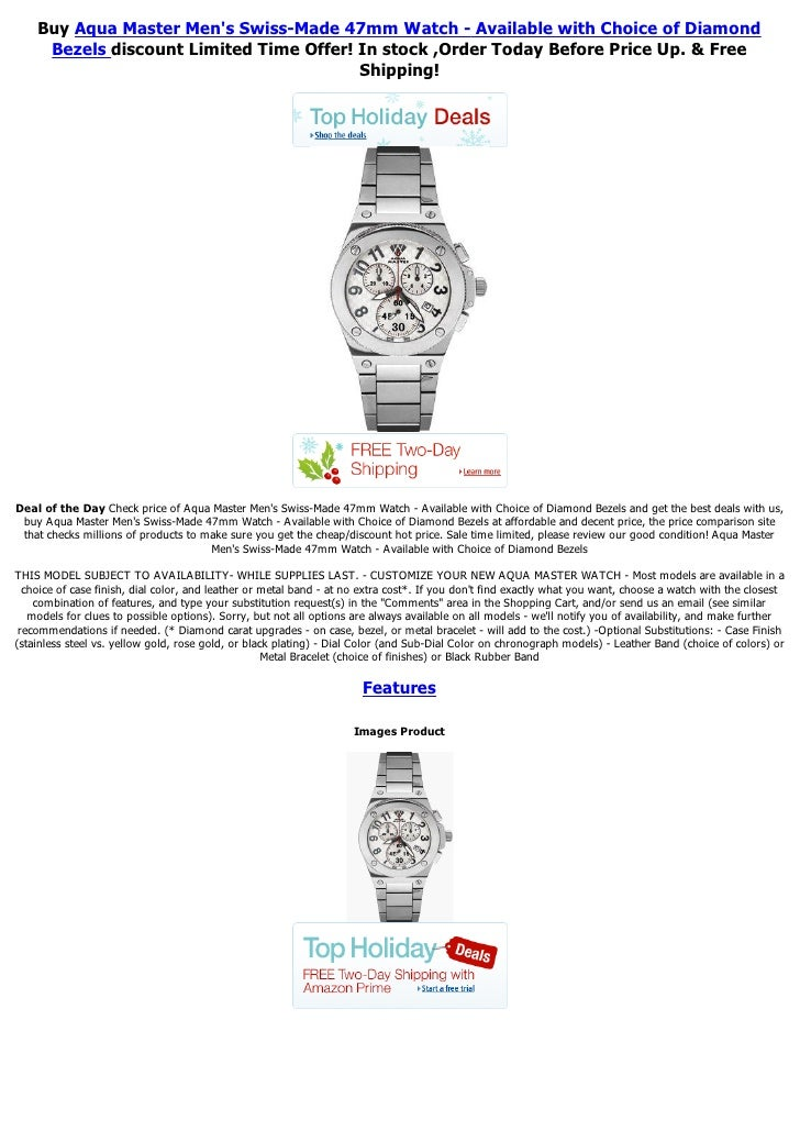 Buy Aqua Master Mens Swiss-Made 47mm Watch - Available with Choice of Diamond     Bezels discount Limited Time Offer! In s...