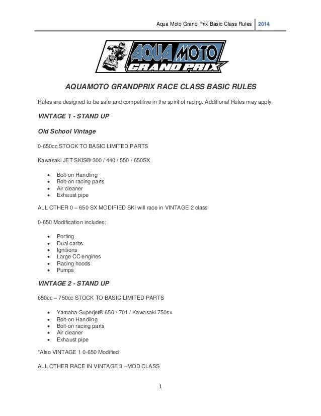 Aqua Moto Grand Prix Basic Competition Rules 2014