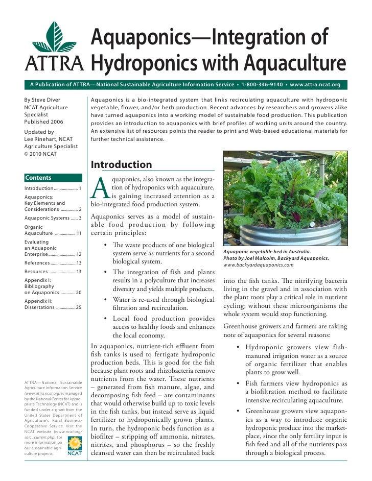 Aquaponics—Integration of                                         Hydroponics with Aquaculture   A Publication of ATTRA—Na...