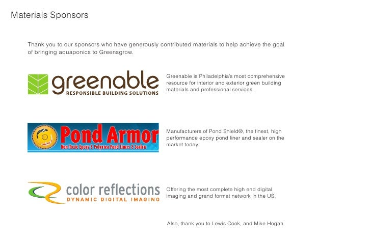 Materials Sponsors      Thank you to our sponsors who have generously contributed materials to help achieve the goal    of...