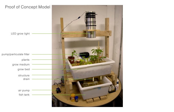 Proof of Concept Model            LED grow light     pump/particulate filter                 plants         grow medium   ...