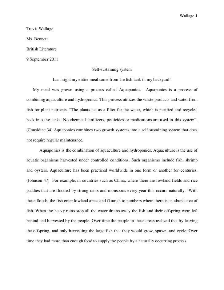 Wallage 1Travis WallageMs. BennettBritish Literature9 September 2011                                      Self-sustaining ...