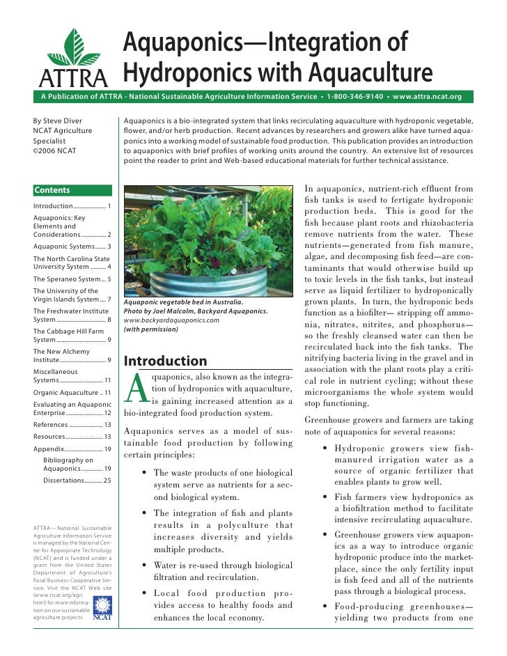 Aquaponics—Integration of   ATTRA Hydroponics with Aquaculture     A Publication of ATTRA - National Sustainable Agricultu...